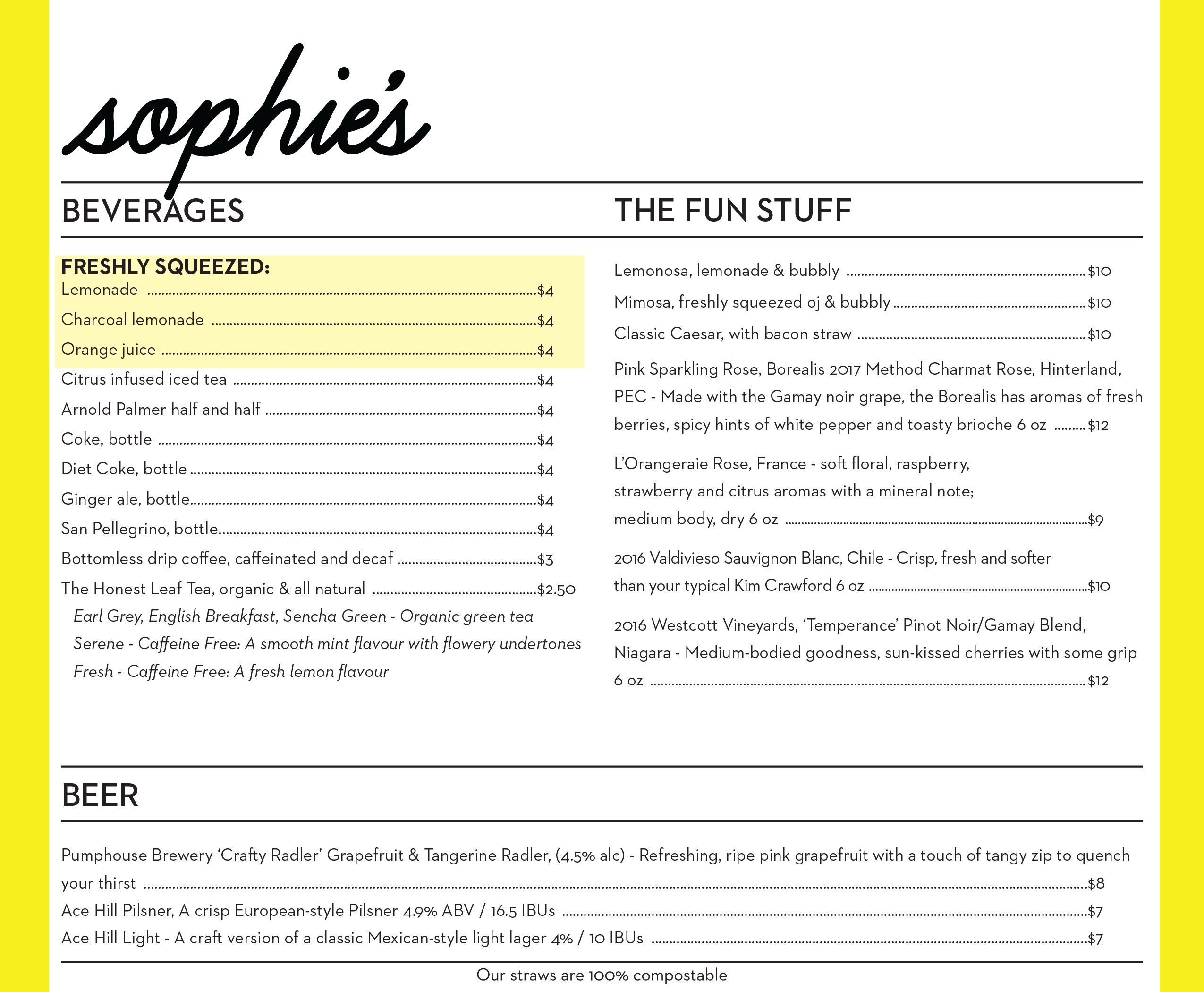 Sophie's Menu Second Page